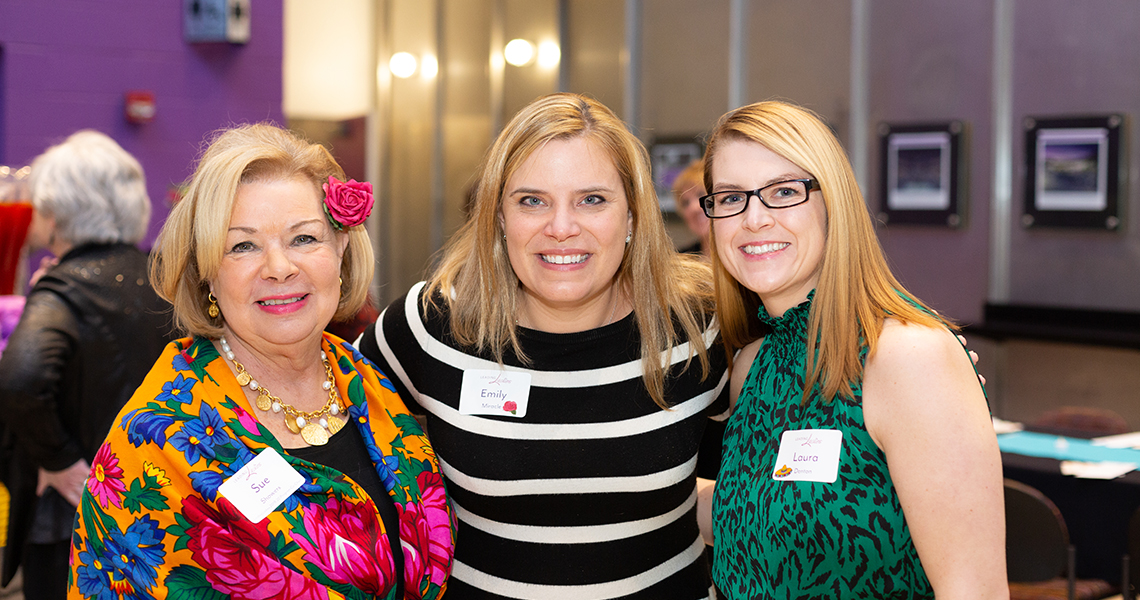 Program Co-Chair Sue Showers with her daughter Emily Miracle and Guest Laura Denton